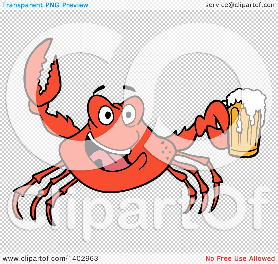 cartoon clipart of a red crab cheering and holding a beer mug