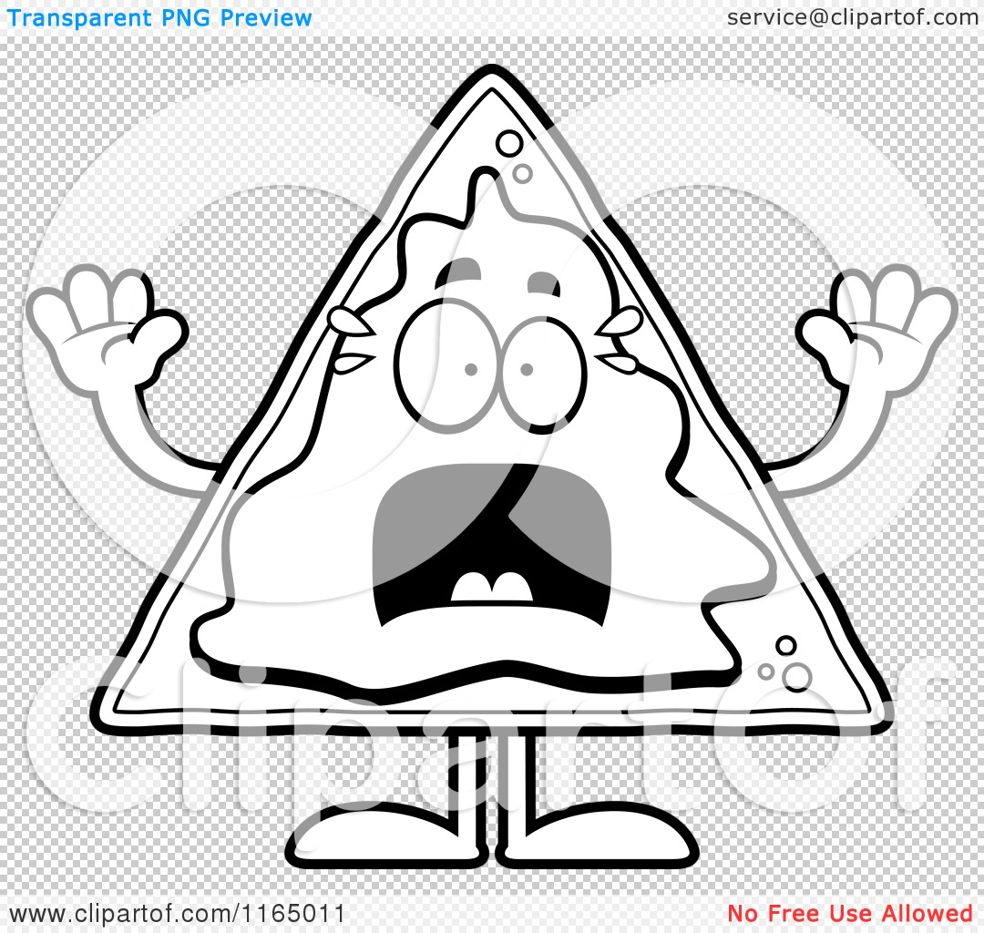 Cartoon clipart of a scared nacho mascot vector outlined for Nachos coloring page