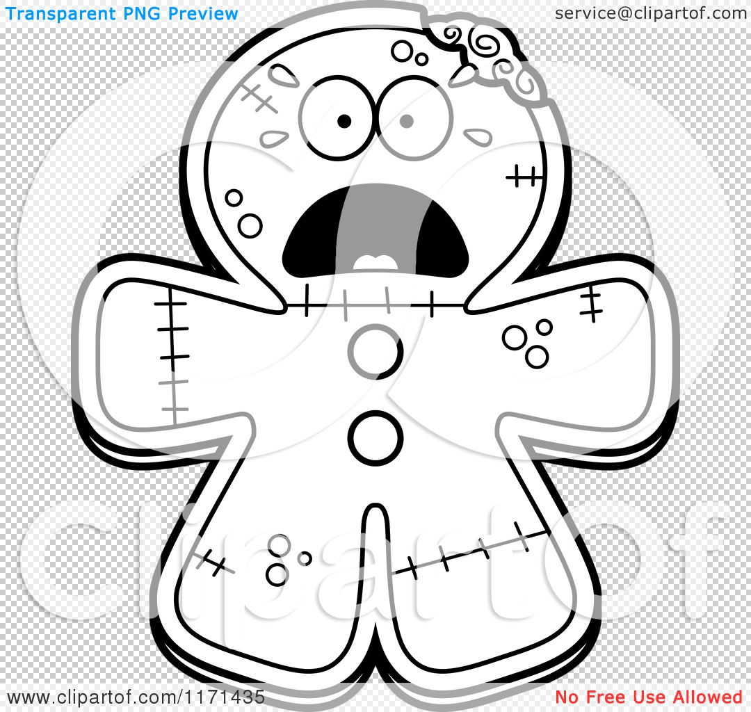 Cartoon Clipart Of A Screaming Gingerbread Zombie Mascot