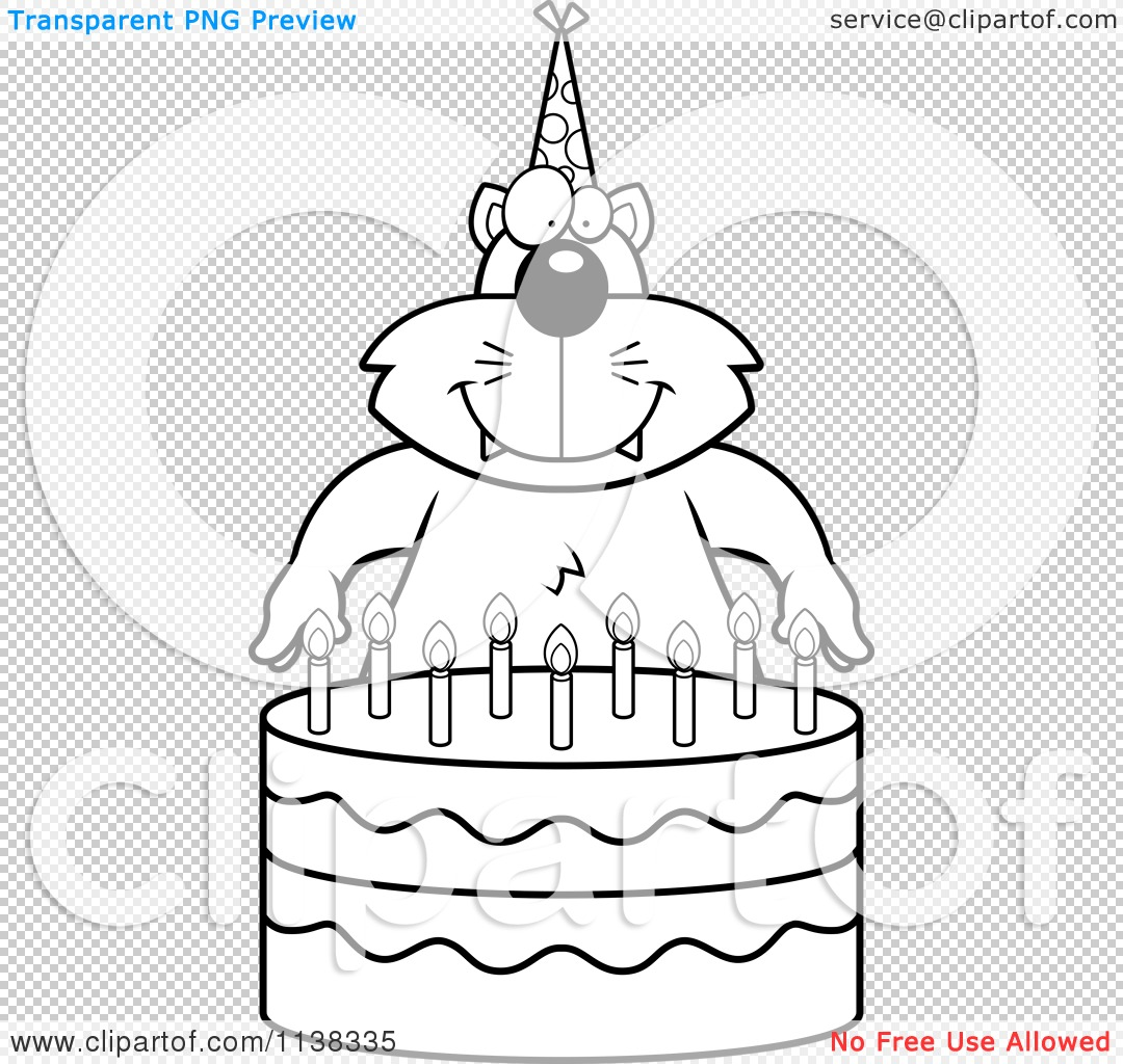 Cartoon Clipart Of An Outlined Cat Making A Wish Over