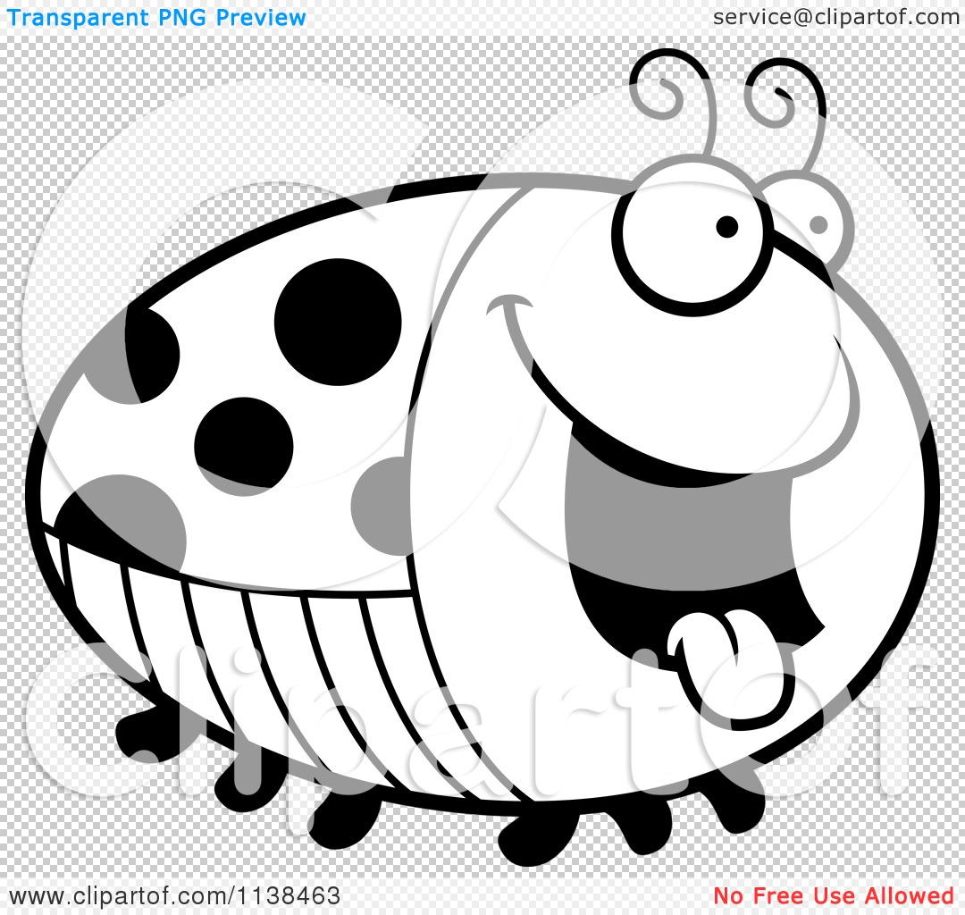 cartoon clipart of an outlined chubby hungry ladybug black and
