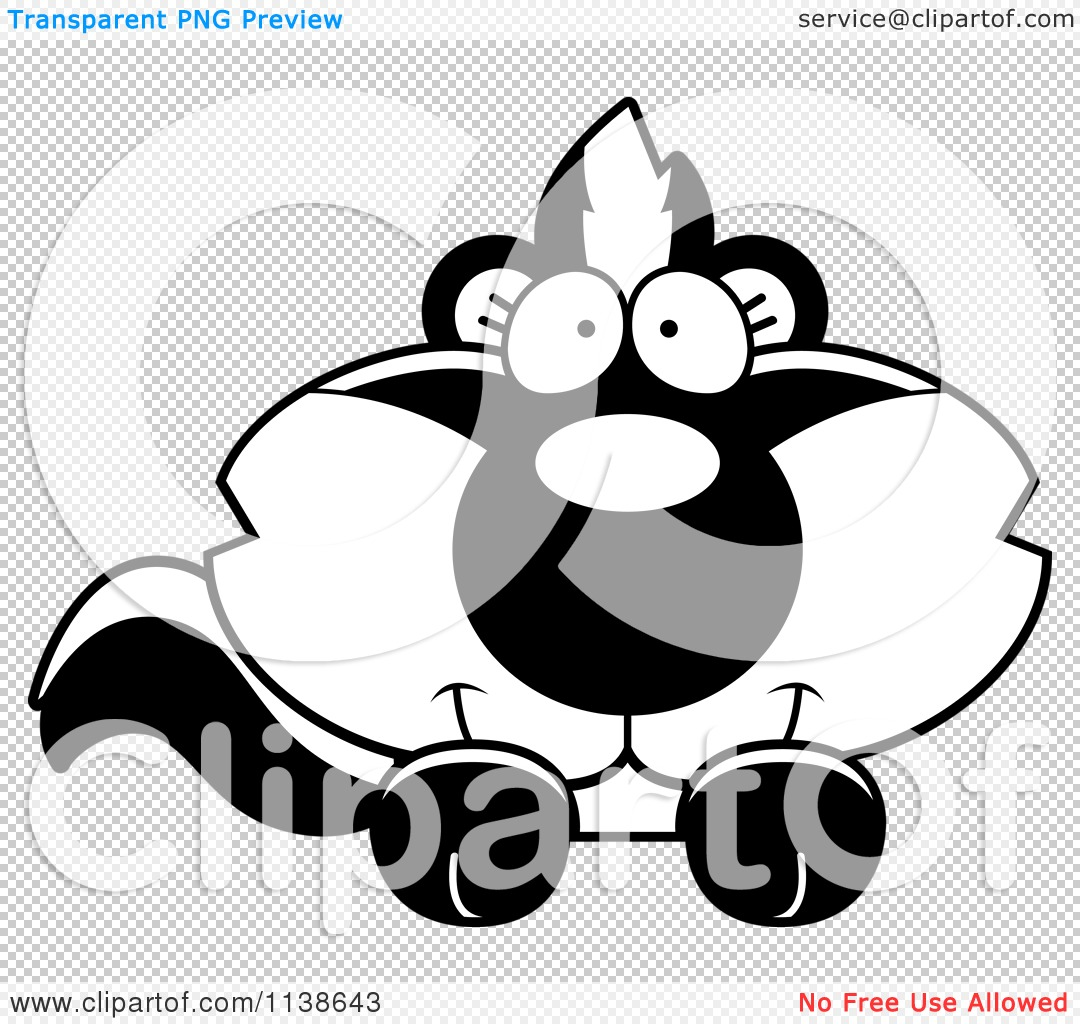 Cartoon Clipart Of An Outlined Cute Baby Skunk Hanging Over A Sign