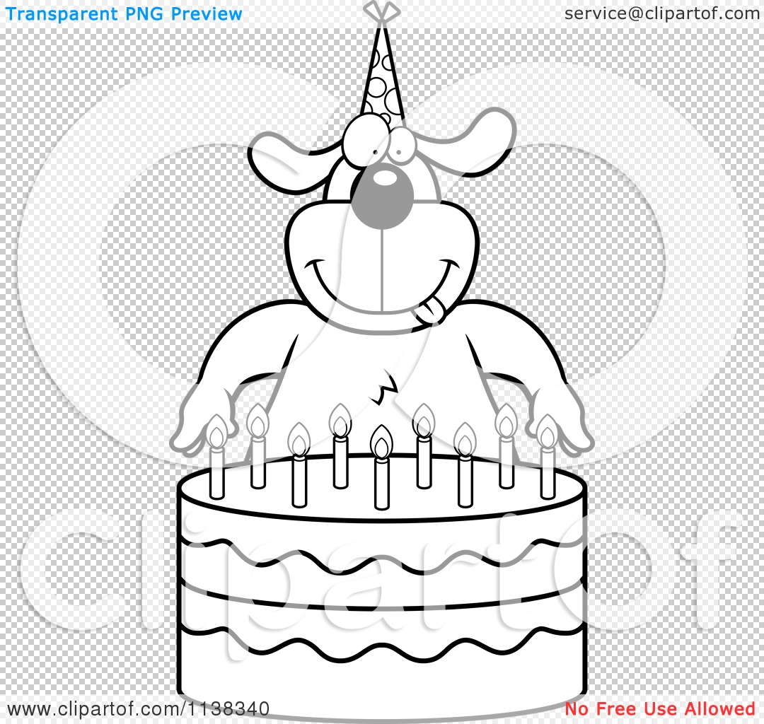 Cartoon Clipart Of An Outlined Dog Making A Wish Over