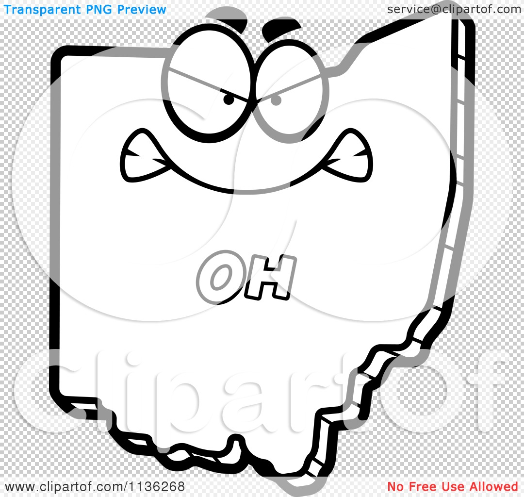 cartoon clipart of an outlined mad ohio state character black