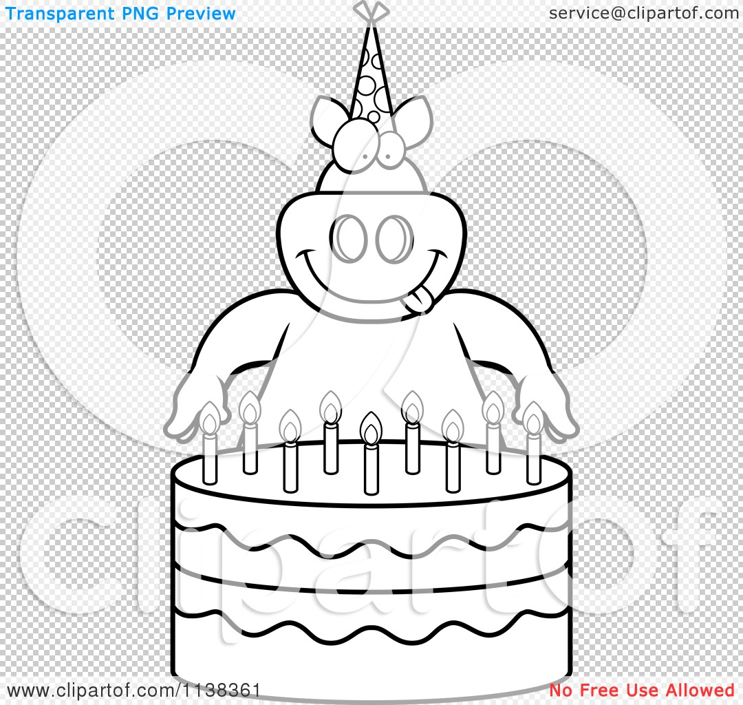 Cartoon Clipart Of An Outlined Pig Making A Wish Over Candles On A