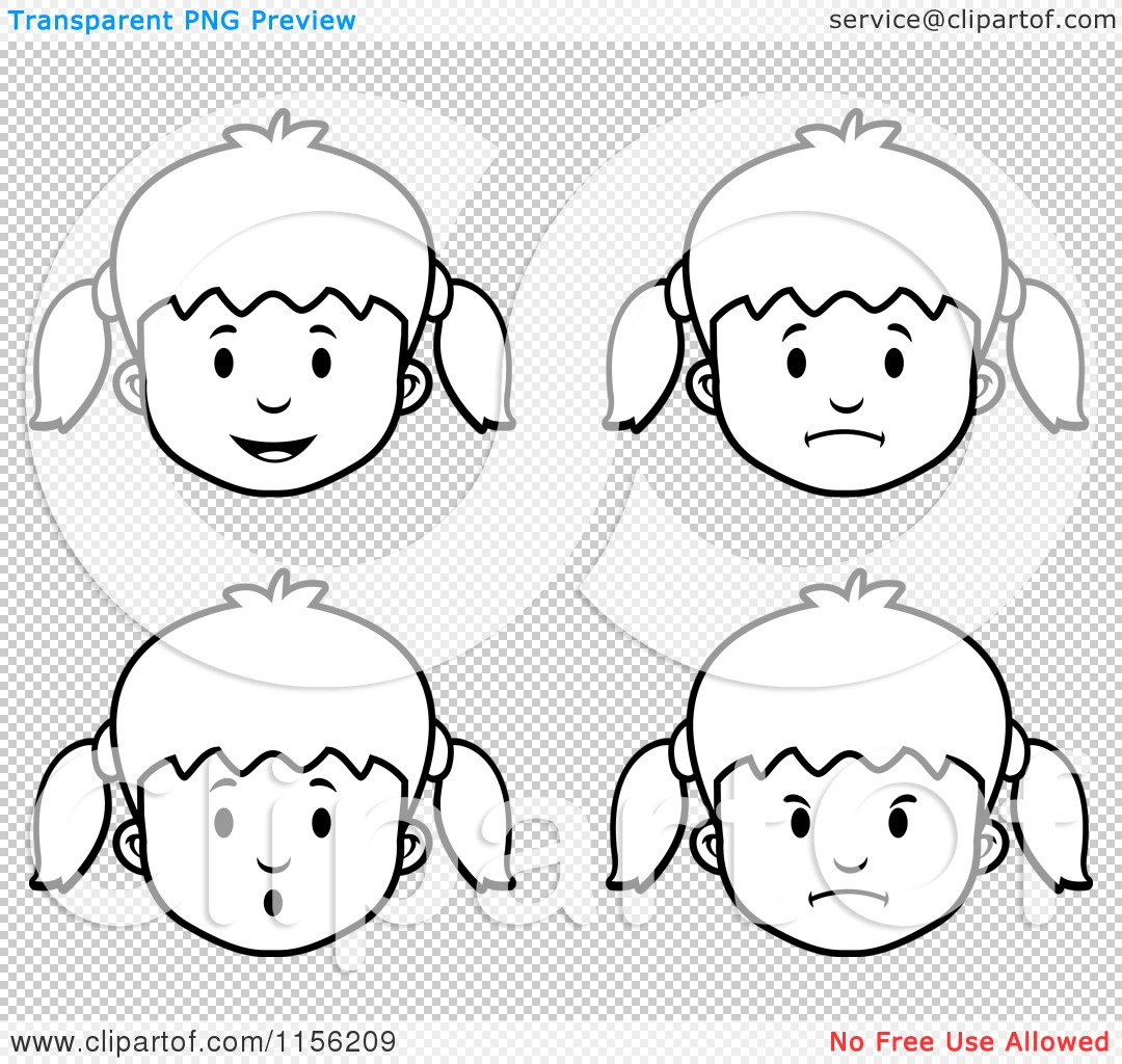 Clip Art Girl Face Coloring Page cartoon clipart of black and white girl faces vector outlined png file has a