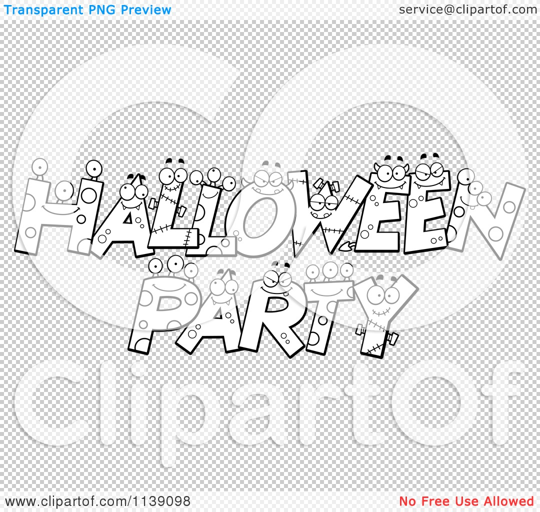 Cartoon Clipart Of Black And White Halloween Party Letter ...