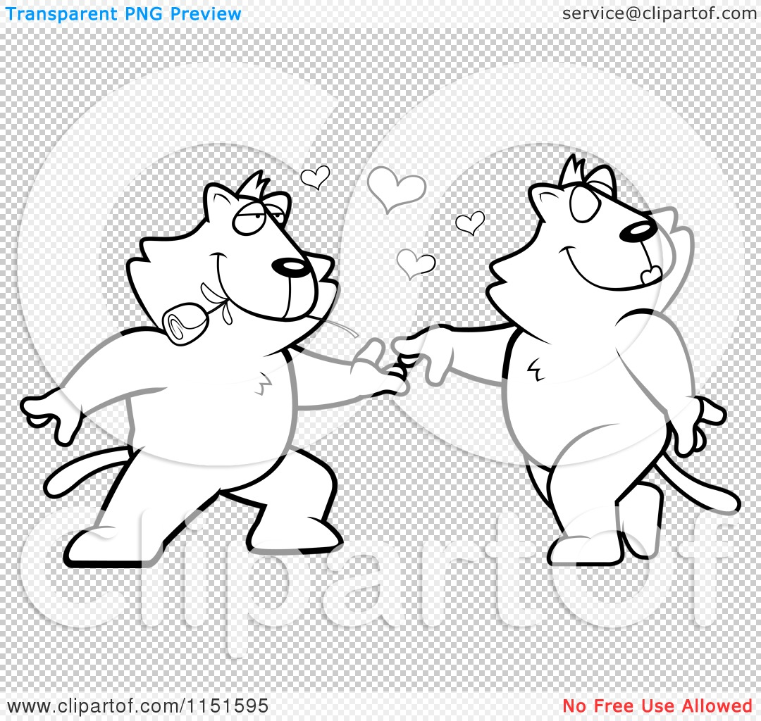 cartoon clipart of black and white romantic cats dancing together