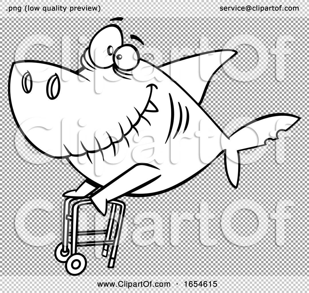 Cartoon Lineart Grandpa Shark with a Walker by toonaday ...