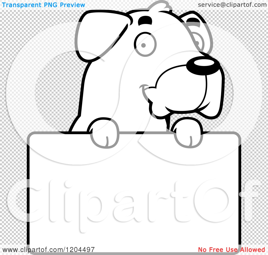 cartoon of a black and white cute rottweiler puppy dog over a sign
