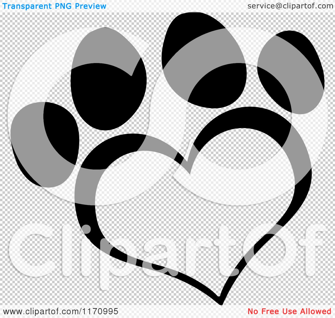 Cartoon of a Black and White Heart Shaped Paw Print ...