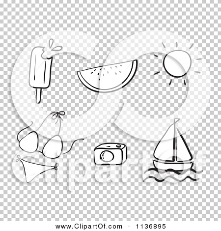 Cartoon Of A Black And White Summer Items 1 - Royalty Free ...