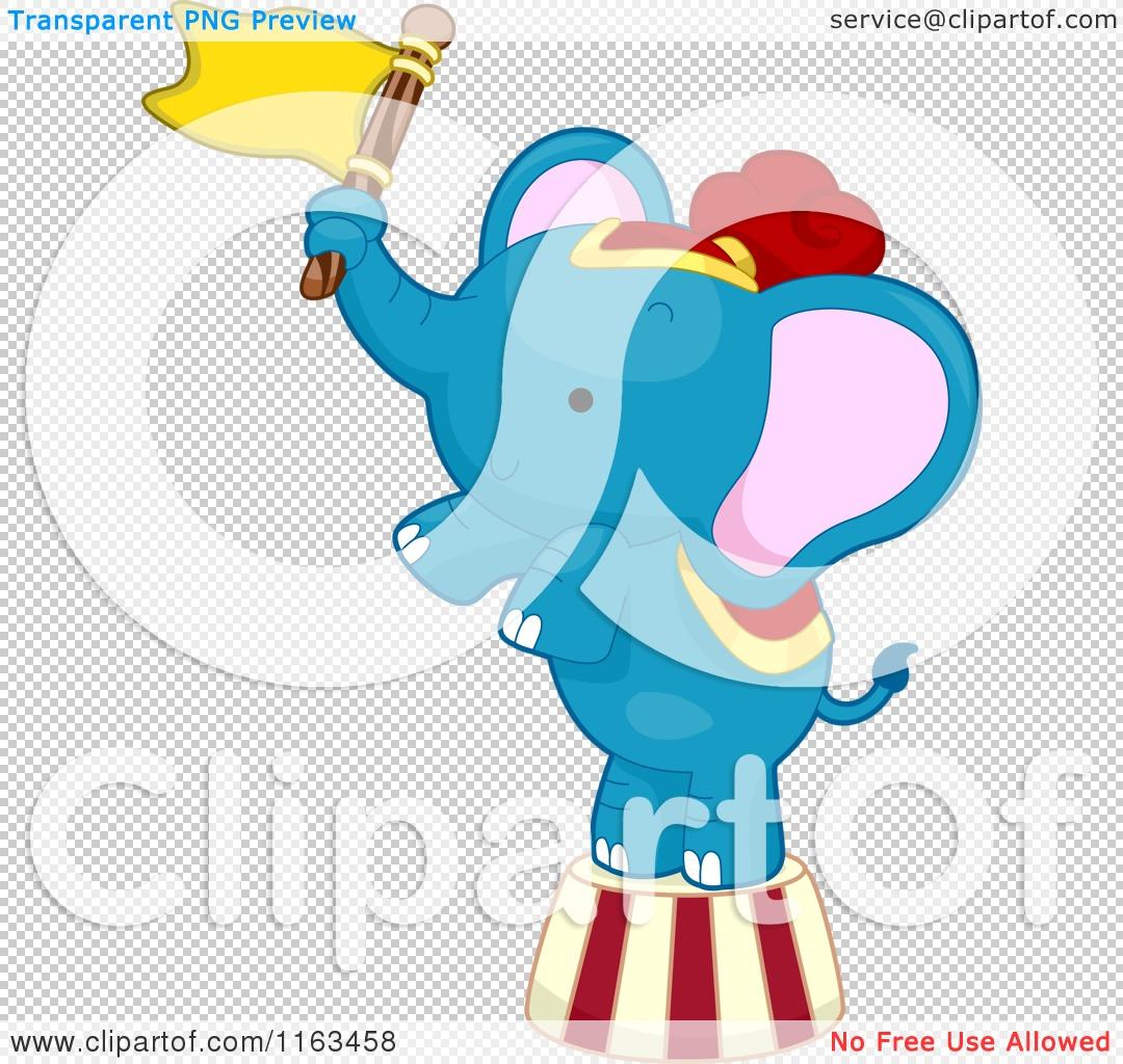 Cartoon Of A Blue Circus Elephant Balancing With Flag