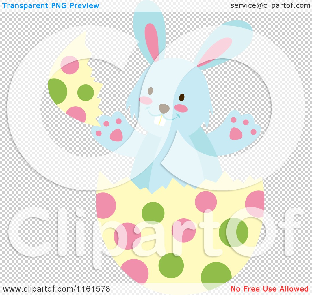 Cartoon of a Blue Easter Bunny Playing in a Polka Dot Egg Shell 2 ...