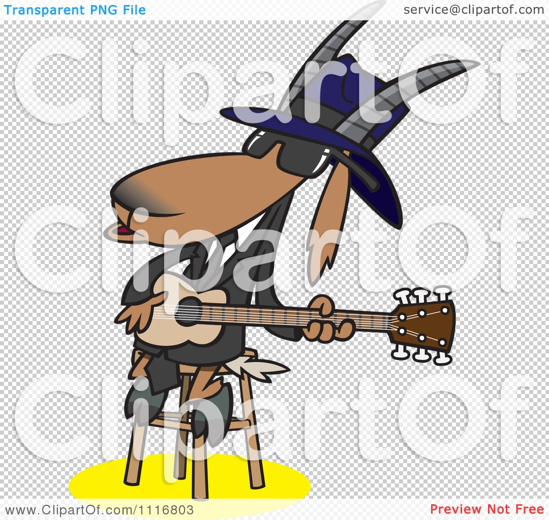 Cartoon Of A Blues Goat Musician Playing A Guitar - Royalty Free ...