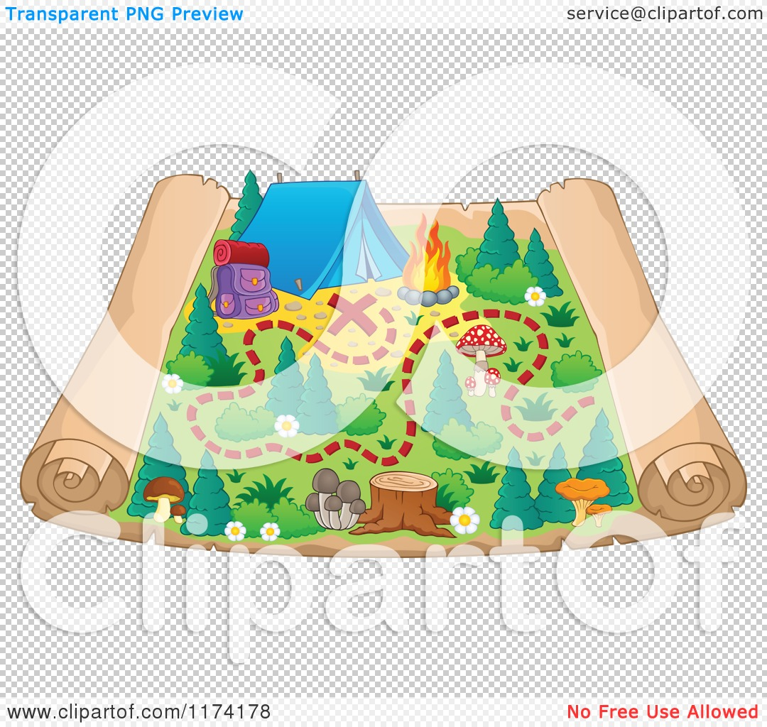 Cartoon Camping Background Transparent background.