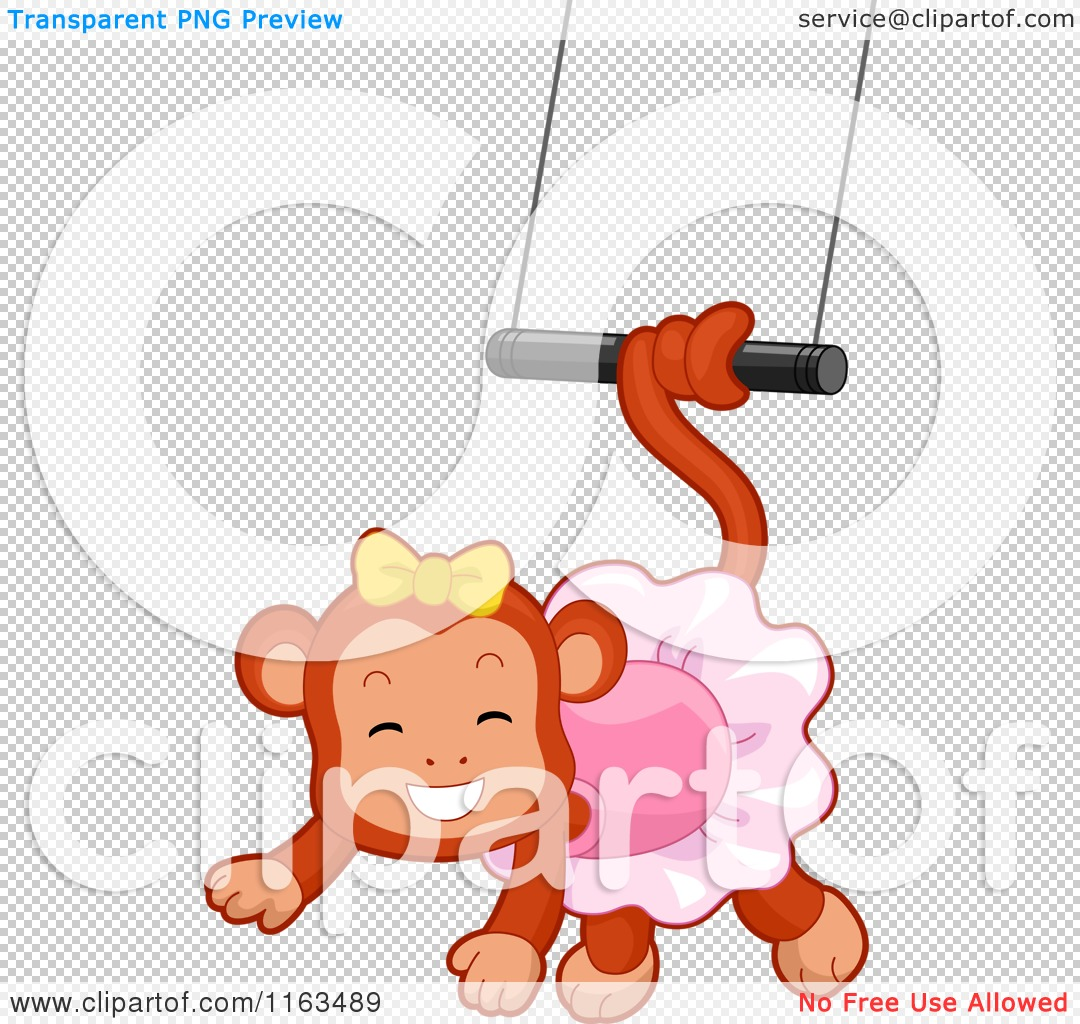 cartoon of a circus monkey swinging from a trapeze