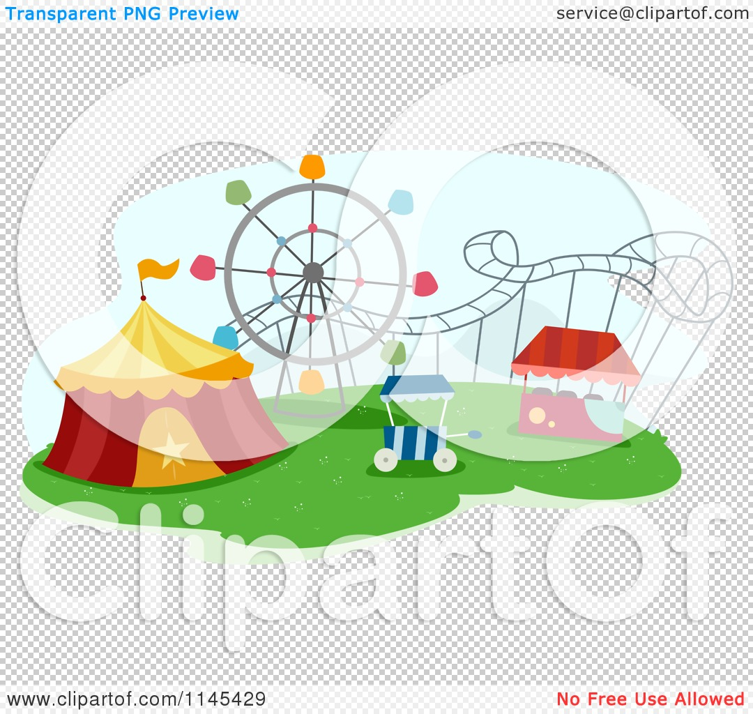 Cartoon of a Circus Tent and Roller Coaster in a Theme Park ...