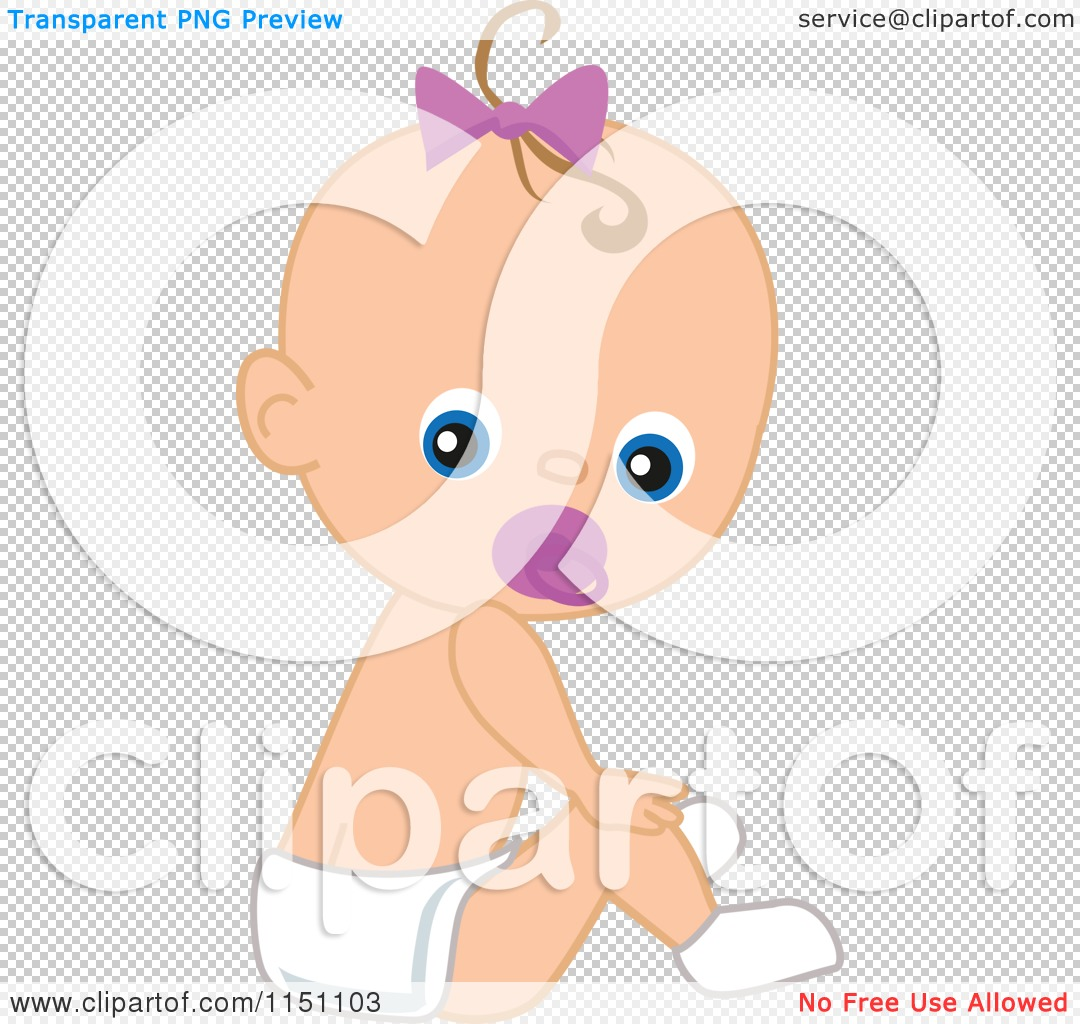 Cartoon Of A Cute Baby Girl With A Pacifier Royalty Free Vector Clipart By Peachidesigns 1151103