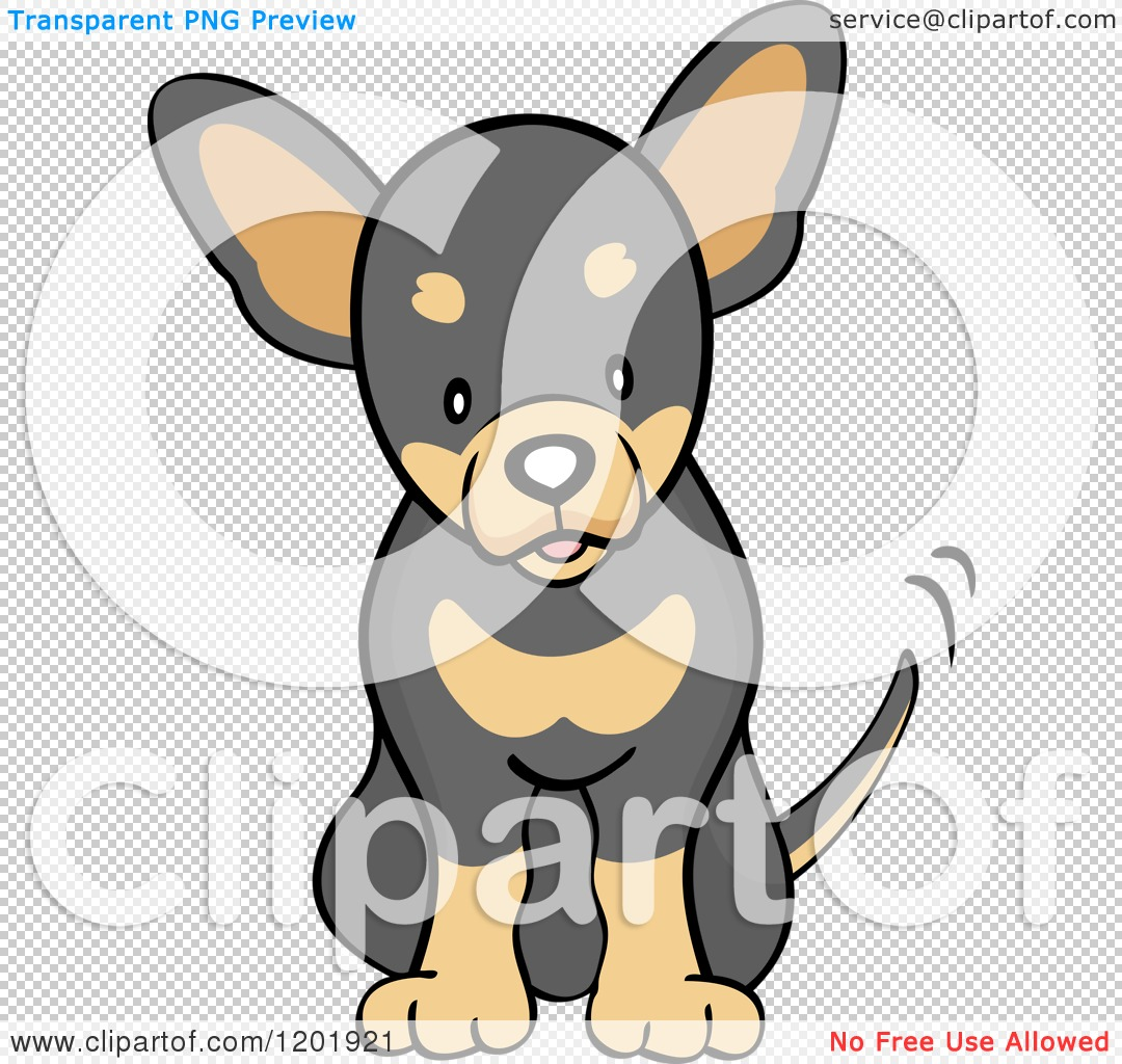Cartoon of a Cute Black and Tan Chihuahua Dog Sitting and Wagging His ...