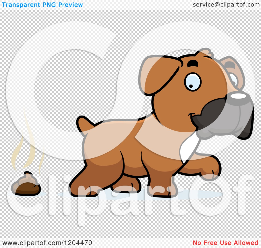 Cartoon of a Cute Boxer Puppy Dog and Poop - Royalty Free Vector ...