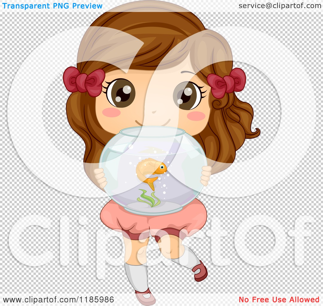 cartoon of a cute brunette girl holding a fish bowl royalty free vector clipart by bnp design studio 1185986 fish bowl royalty free vector clipart