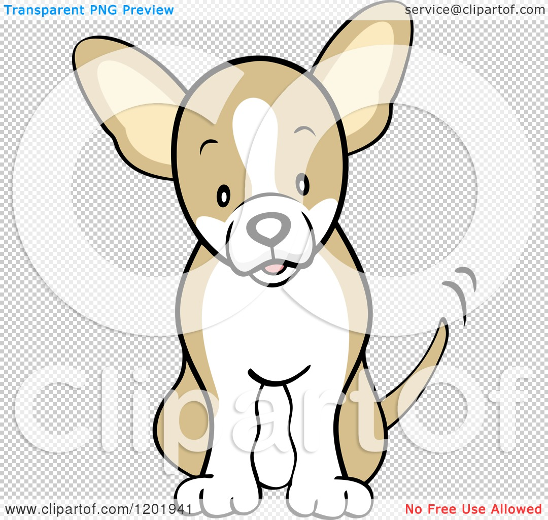 Cartoon of a Cute Fawn Chihuahua Dog Sitting and Wagging His Tail ...