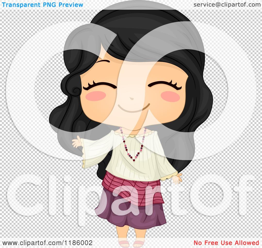 cartoon of a cute filipino girl waving and wearing a