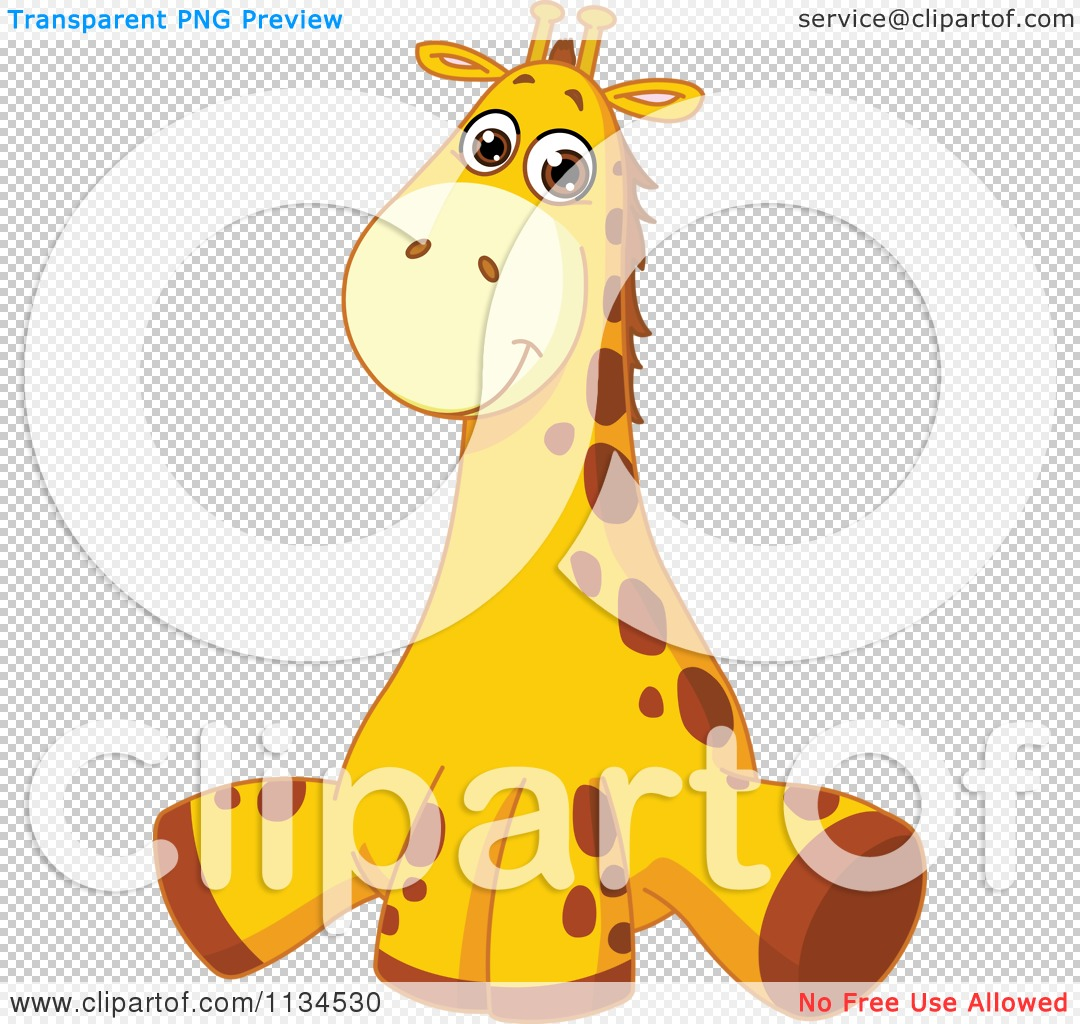 cartoon of a cute giraffe sitting royalty free vector clipart by