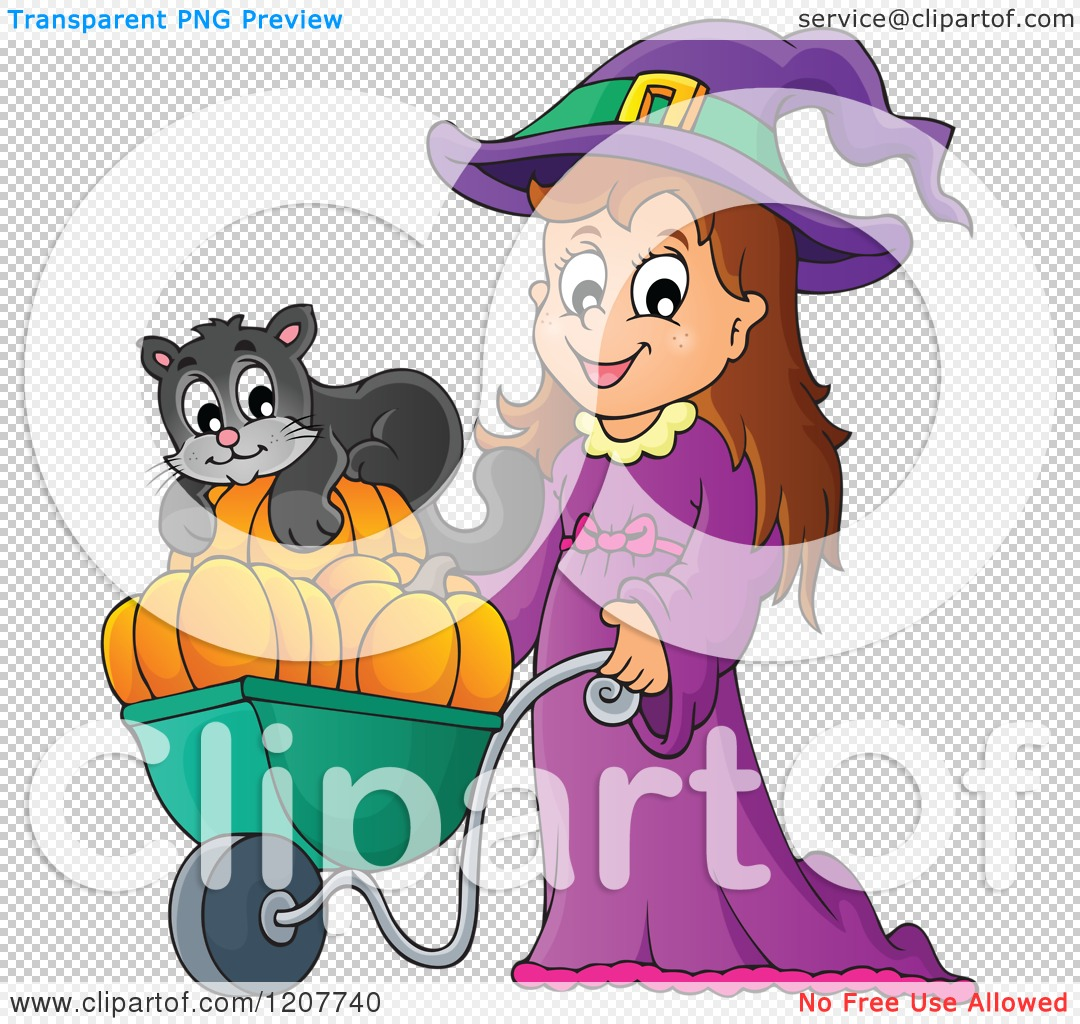 cartoon of a cute halloween witch pushing a black cat and
