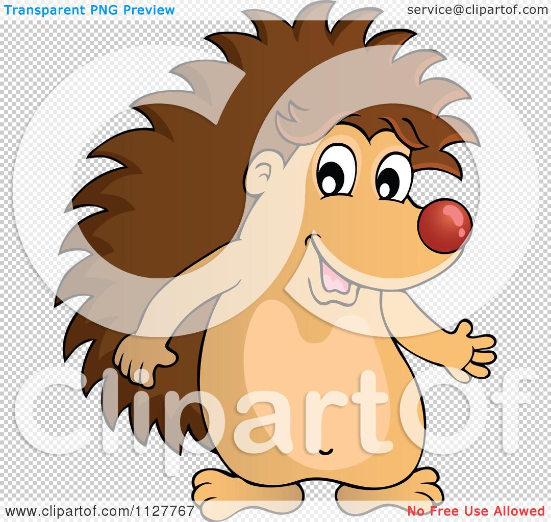 Cartoon Of A Cute Happy Hedgehog Presenting Royalty Free
