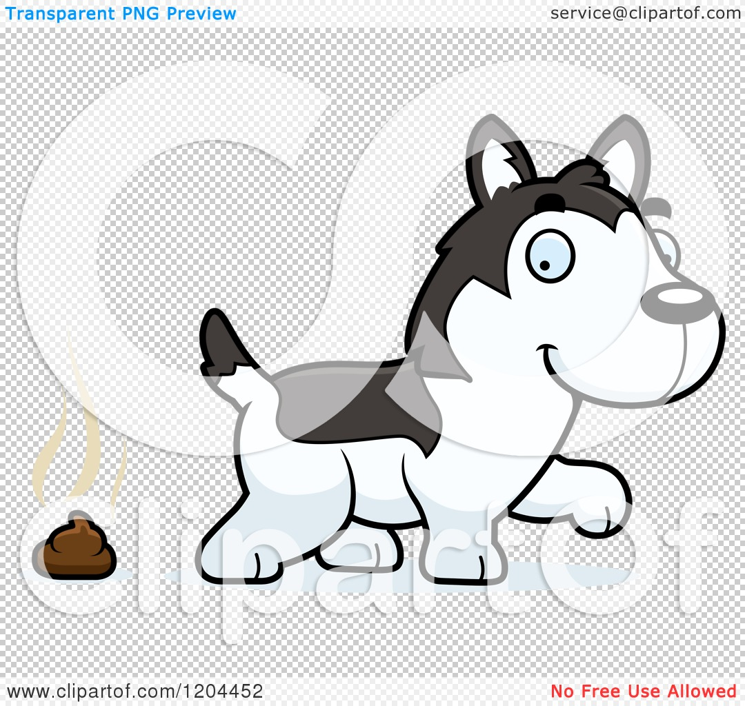 Cartoon of a Cute Husky Puppy Dog Pooping - Royalty Free Vector ...
