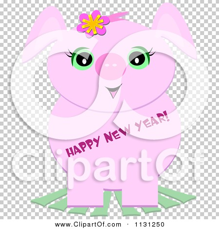 Cartoon Of A Cute Pink Pig With Happy New Year Text - Royalty Free ...