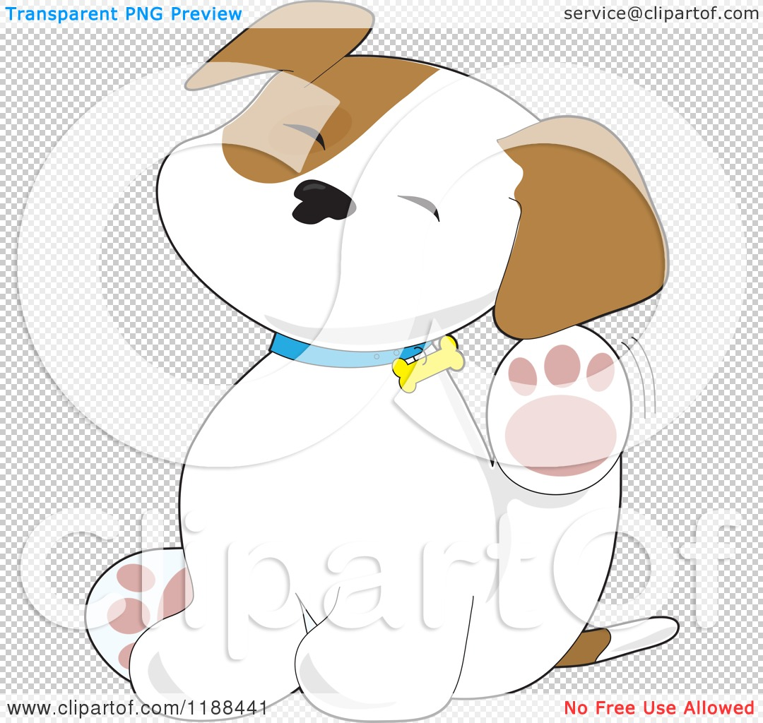 cartoon of a cute puppy scratching an itch behind his ear. Black Bedroom Furniture Sets. Home Design Ideas