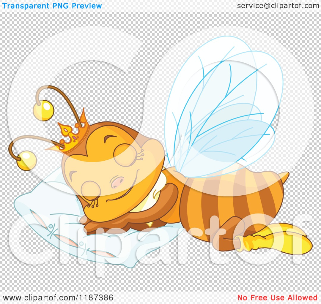 cartoon of a cute queen bee sleeping on a pillow royalty free