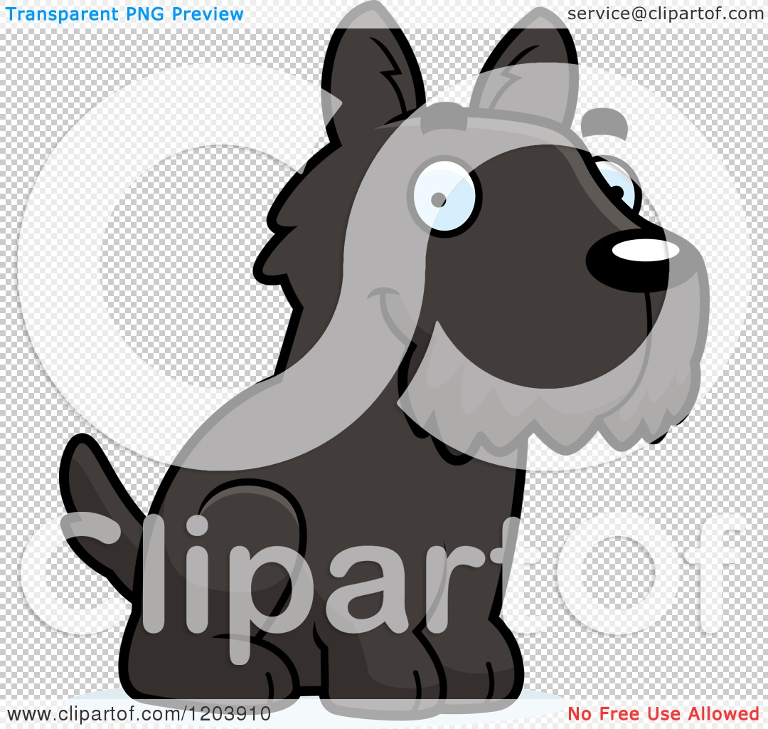 Cartoon of a Cute Scottish Terrier Puppy Sitting - Royalty Free ...