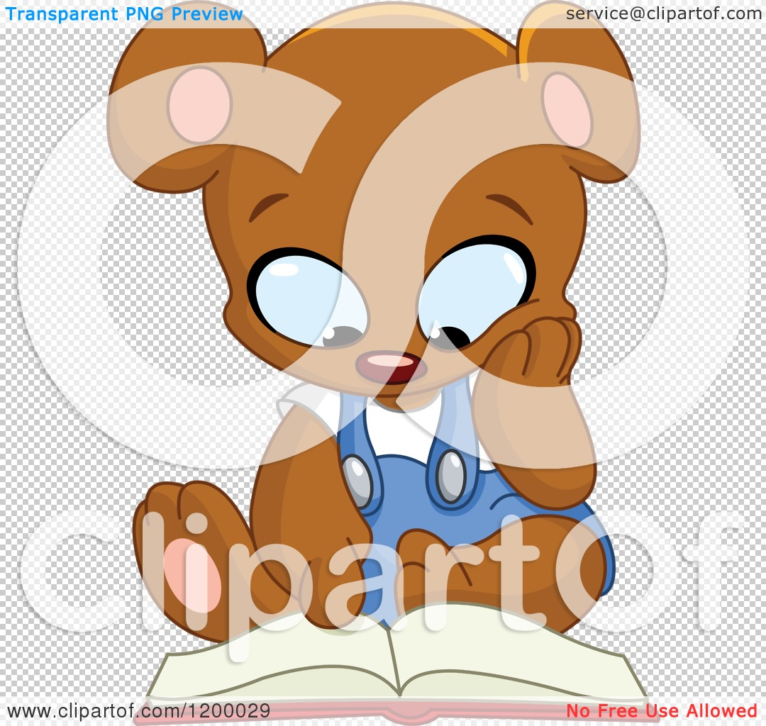 Cartoon of a Cute Teddy Bear Sitting and Reading a Book ...