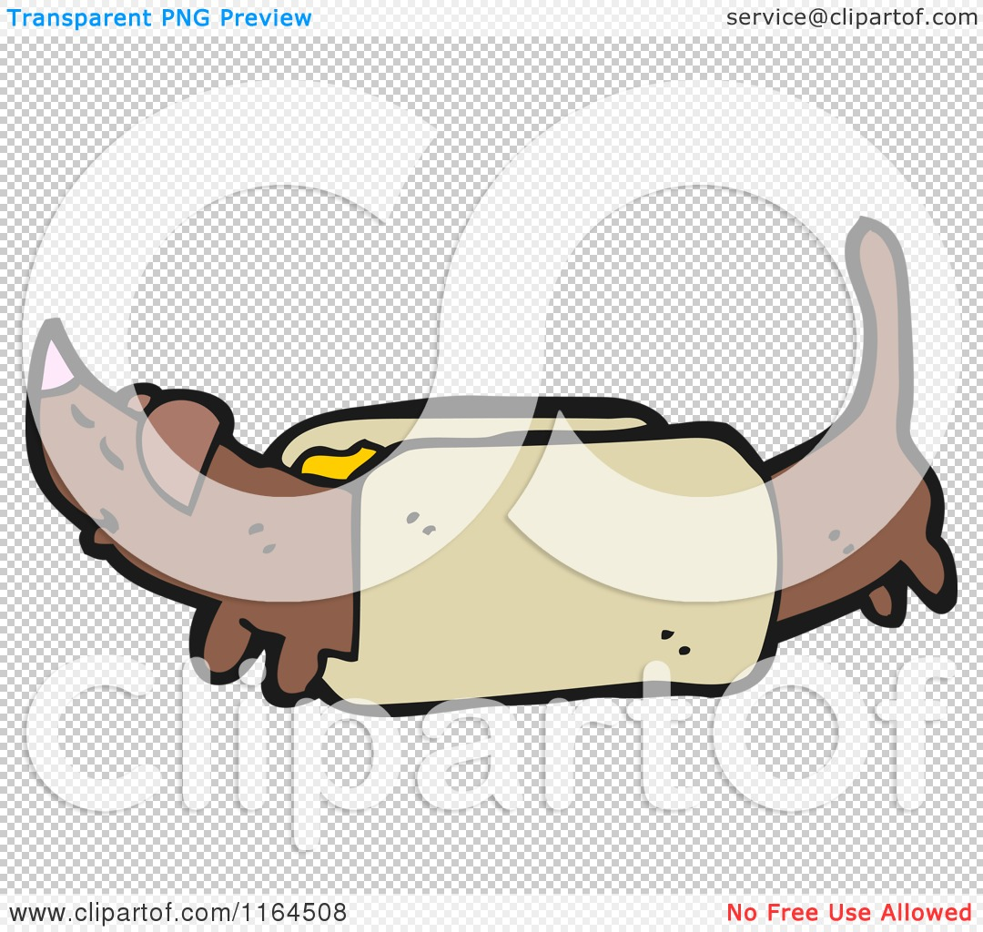 Cartoon of a Dachshund Dog in a Bun - Royalty Free Vector Illustration