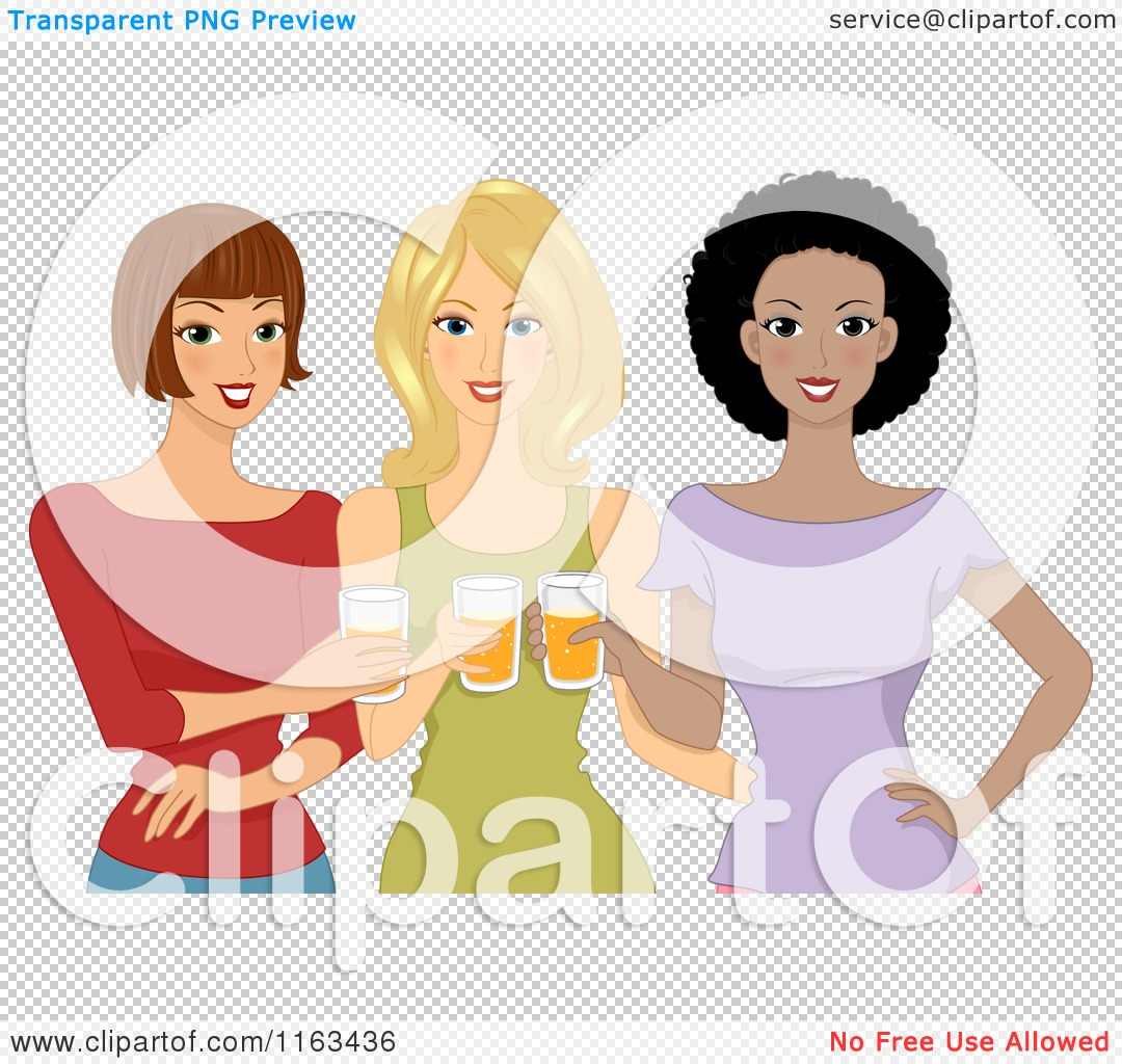 Cartoon Of A Diverse Group Of Ladies Drinking Beer