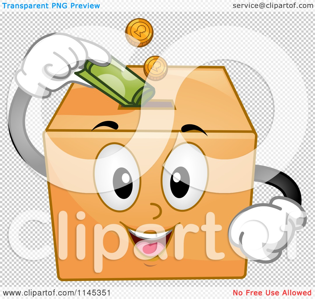 Cartoon of a Donation Box Mascot Inserting Money - Royalty Free ...
