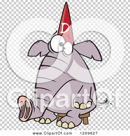Cartoon of a Dumb Elephant Sitting on a Stool and Wearing a Dunce ...