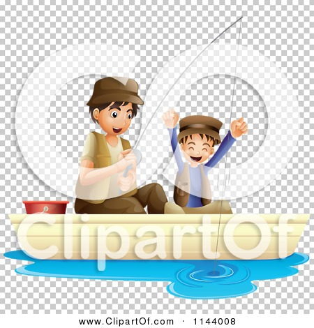 Cartoon Of A Father And Son Cheering While Fishing ...