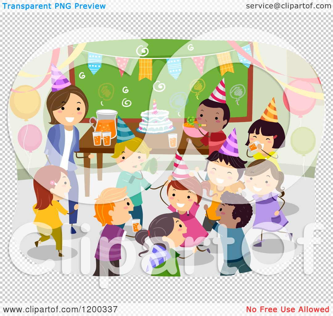 Classroom Birthday Party ~ Cartoon of a female teacher and happy diverse school