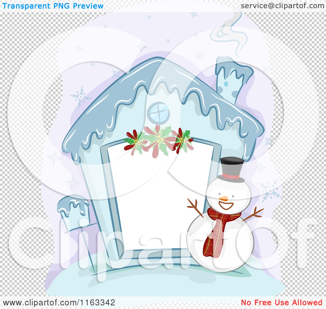 Cartoon Of A Frozen Christmas House Frame With Snowman
