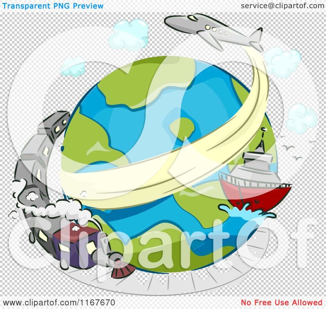 cartoon of a globe with a train ship and airplane royalty free