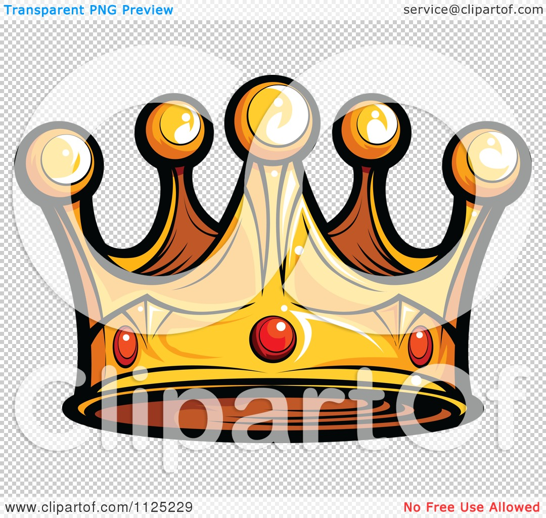 Cartoon Of A Golden King Crown With Ruby Gems Royalty Free