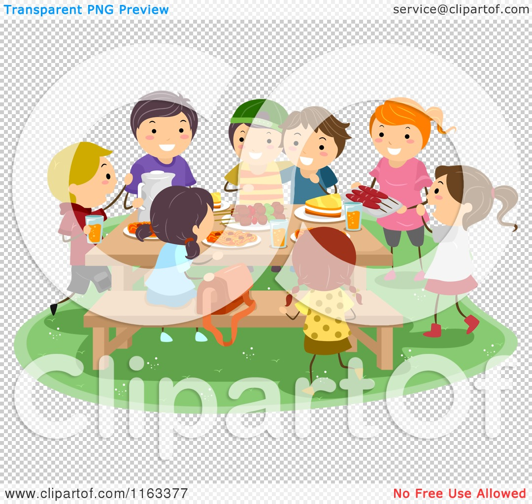 Cartoon Of A Group Of Happy Kids Having A Picnic Royalty