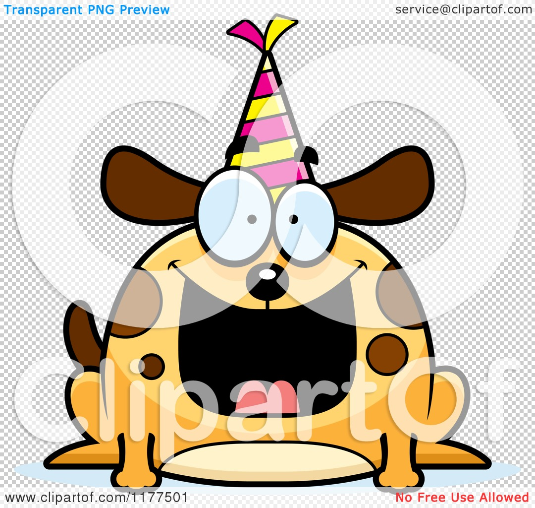 Cartoon of a Happy Birthday Dog Wearing a Party Hat - Royalty Free ...