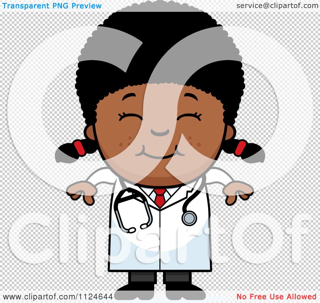 Cartoon Of A Happy Black Doctor Or Veterinarian Girl ...