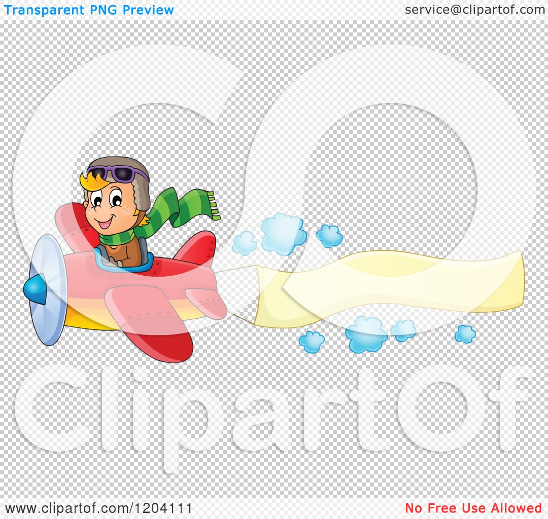 cartoon of a happy boy pilot flying a plane with a banner